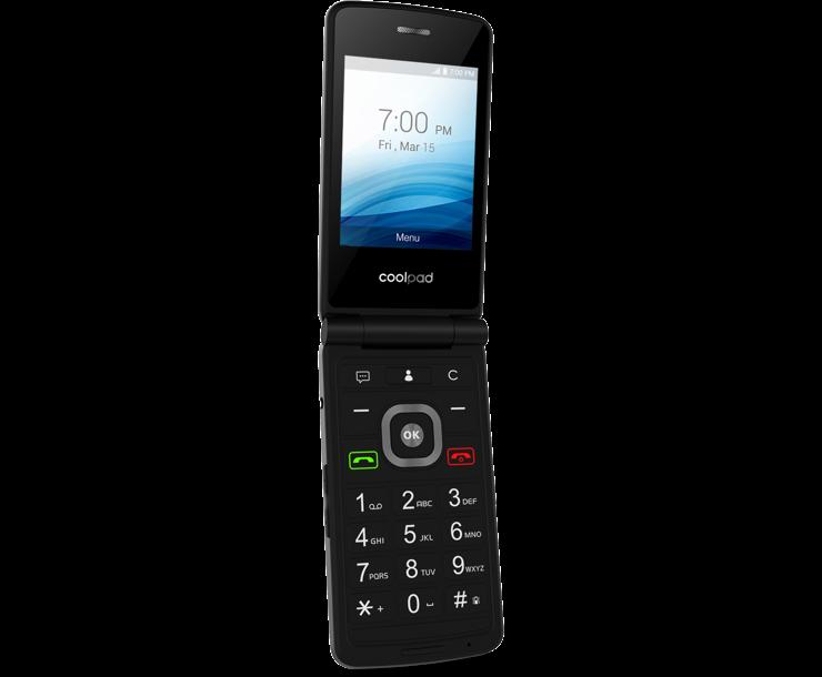 Coolpad Snap, Black, Open, Flip Phone