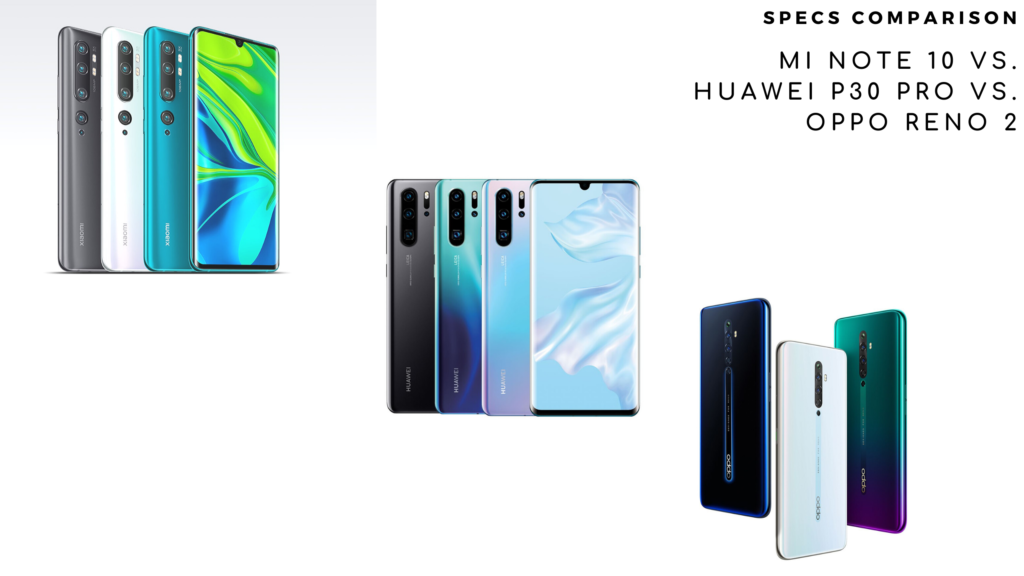Xiaomi Note 10 vs. Huawei P30 Pro vs. Oppo Reno 2_top